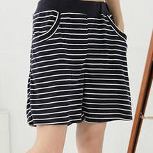 RingBear - Elastic-Waist Striped Cotton Shorts