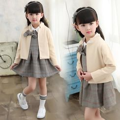 PAM - Kids Set: Panel A-Line Dress + Bow-Accent Jacket