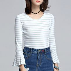 Sentubila - 3/4-Sleeve Striped T-Shirt