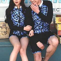 DJ Design - Couple Matching Set: Rashguard + Swim Shorts / Set: Rashguard + Swim Shorts + Tankini