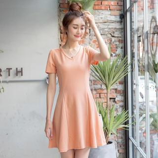 OrangeBear - Short-Sleeve A-Line Dress