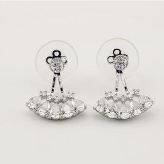 Love Generation - Rhinestone Double-Sided Drop Earrings