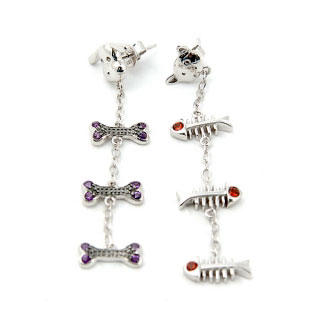 Bellini - Silver Cat and Dog Dangle Earrings