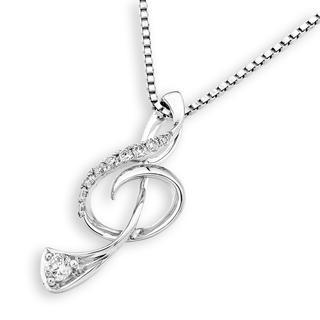 MaBelle - 18K White Gold Music Note Diamond Pendant Necklace (0.13 cttw) (FREE 925 Silver Box Chain, 16')
