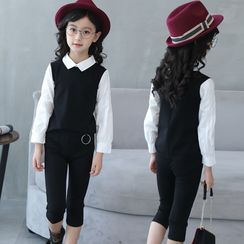PAM - Kids Set: Long-Sleeve Panel Blouse + Cropped Pants