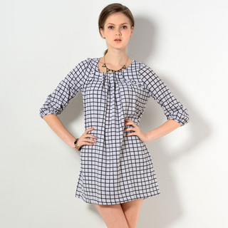 59 Seconds - 3/4-Sleeve Check Pleated Dress