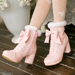 Candy Rain - Block Heel Short Boots