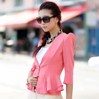 59 Seconds - Shoulder Pad Peplum Blazer